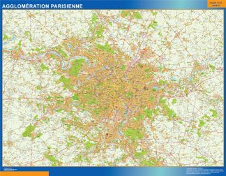 Biggest Agglomeration Parisienne laminated map