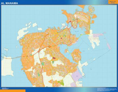 Biggest Al Manama laminated map