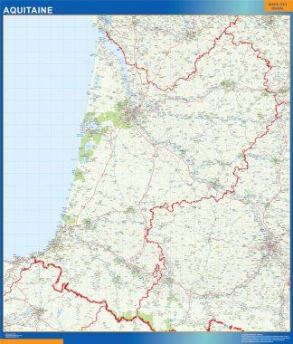 Biggest Aquitaine laminated map