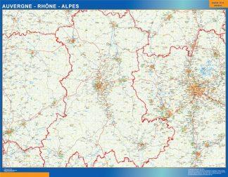 Biggest Auvergne Rhone Alpes laminated map