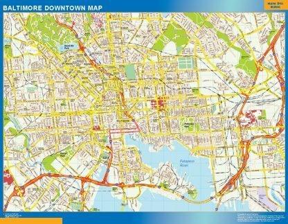 Biggest Baltimore downtown map