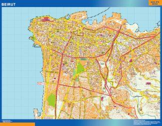 Biggest Beirut laminated map