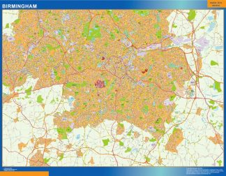 Biggest Birmingham laminated map