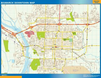 Biggest Bismarck downtown map
