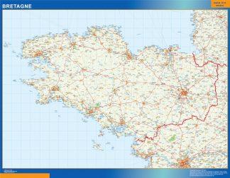 Biggest Bretagne laminated map