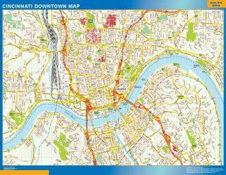 Biggest Cincinnati downtown map