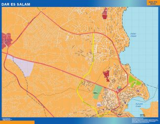 Biggest Dar Es Salam wall map