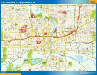 Biggest Des Moines downtown map