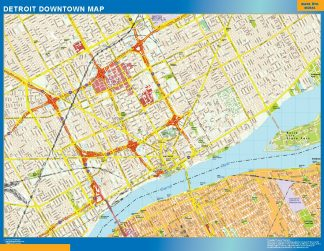 Biggest Detroit downtown map
