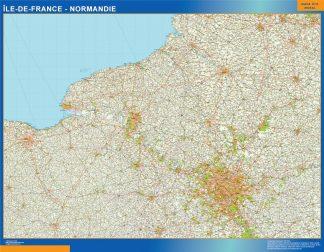 Biggest Ile De France Normandie laminated map