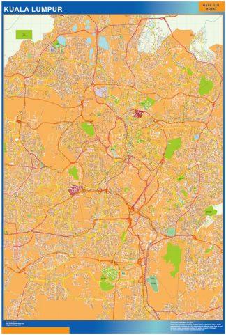 Biggest Kuala Lumpur laminated map