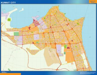 Biggest Kuwait laminated map