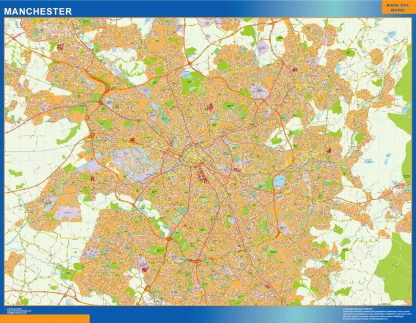 Biggest Manchester laminated map