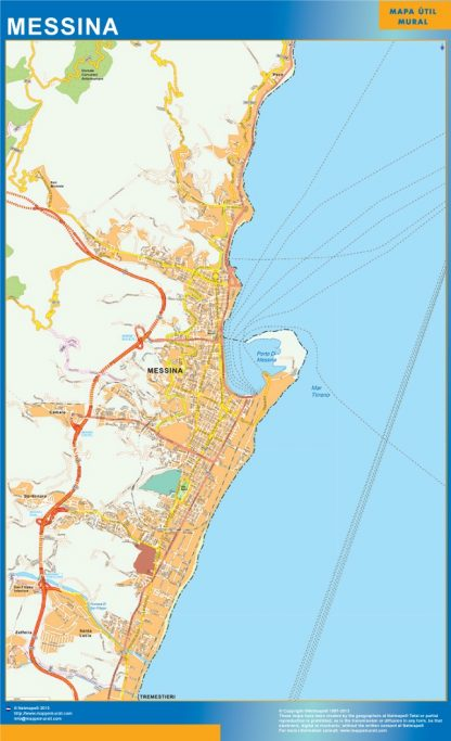 Biggest Map of Messina city in Italy