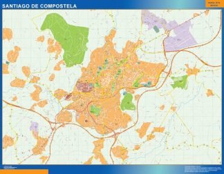 Biggest Map of Santiago De Compostela Spain
