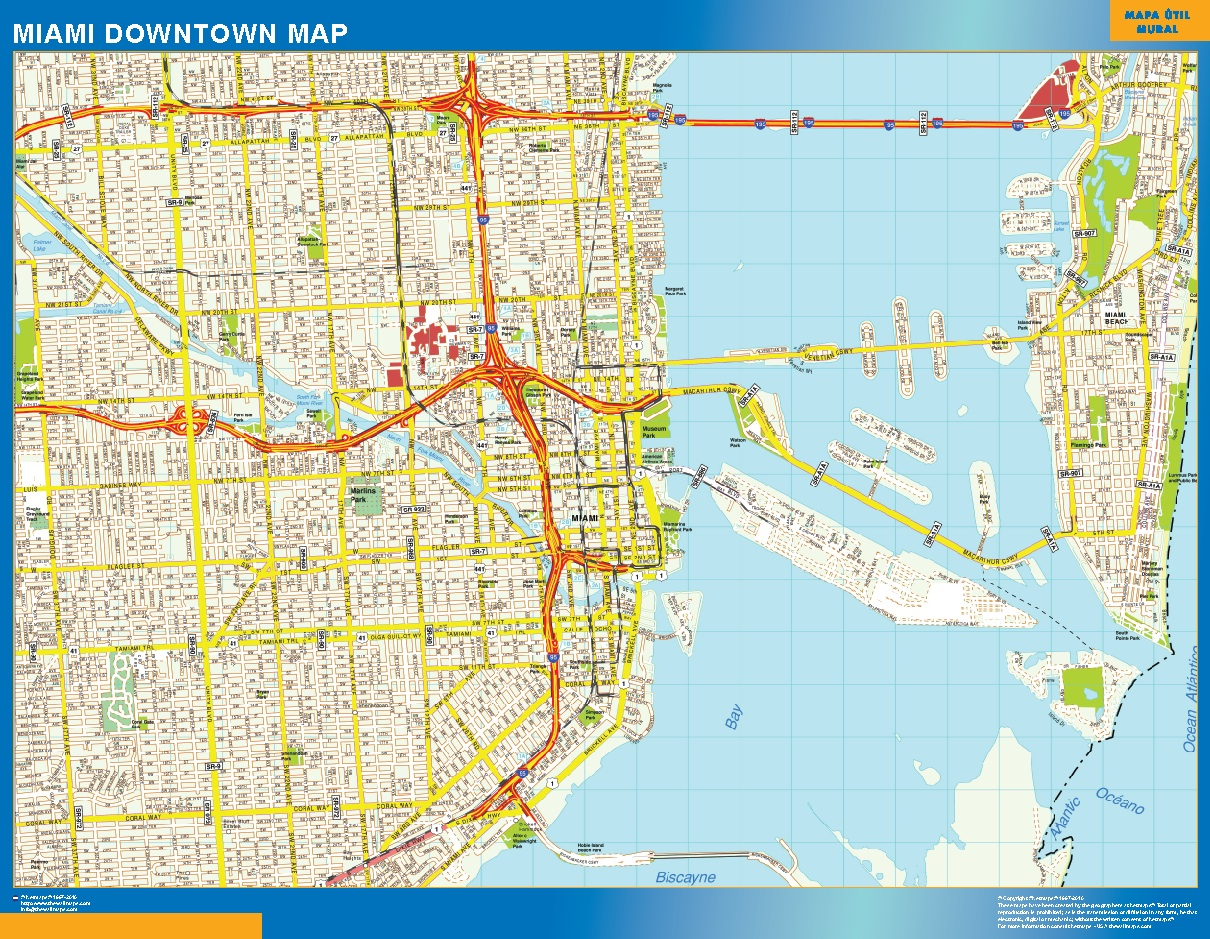 miami downtown map - wall maps of the world & countries