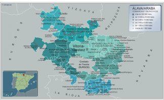 Biggest Municipalities Alava map from Spain