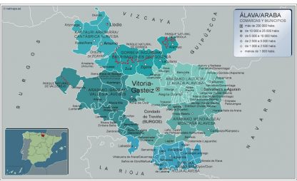 Biggest Municipalities Alava map from Spain