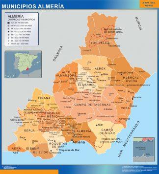 Biggest Municipalities Almeria map from Spain