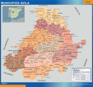 Biggest Municipalities Avila map from Spain