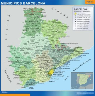 Biggest Municipalities Barcelona map from Spain