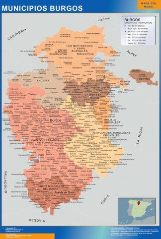 Biggest Municipalities Burgos map from Spain