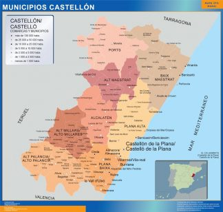 Biggest Municipalities Castellon map from Spain