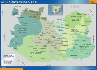 Biggest Municipalities Ciudad Real map from Spain