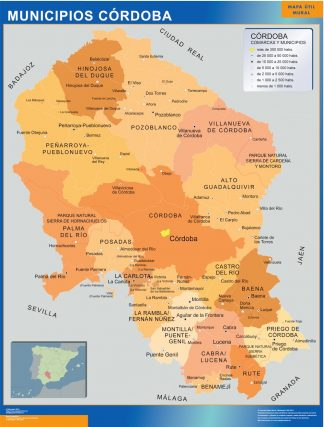Biggest Municipalities Cordoba map from Spain