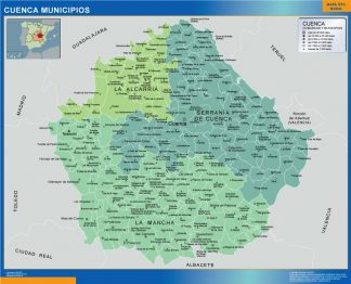 Biggest Municipalities Cuenca map from Spain