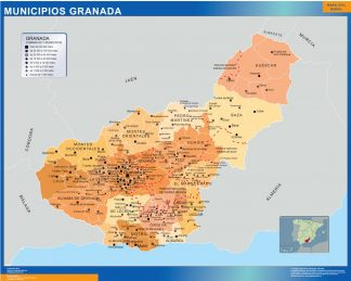 Biggest Municipalities Granada map from Spain