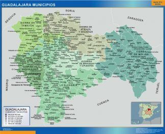 Biggest Municipalities Guadalajara map from Spain