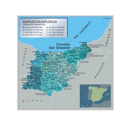 Biggest Municipalities Guipuzcoa map from Spain