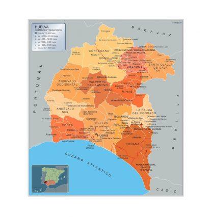 Biggest Municipalities Huelva map from Spain
