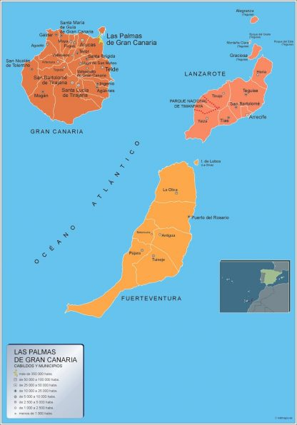 Biggest Municipalities Las Palmas Gran Canaria map from Spain