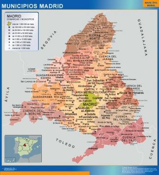 Biggest Municipalities Madrid map from Spain