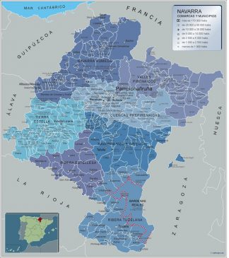 Biggest Municipalities Navarra map from Spain