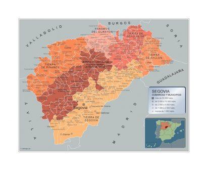 Biggest Municipalities Segovia map from Spain