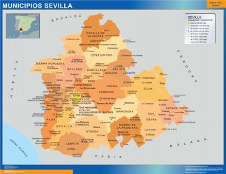 Biggest Municipalities Sevilla map from Spain