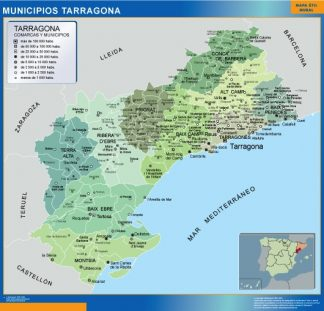 Biggest Municipalities Tarragona map from Spain