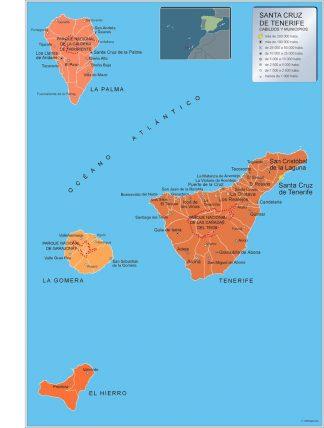 Biggest Municipalities Tenerife map from Spain