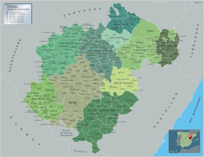 Biggest Municipalities Teruel map from Spain