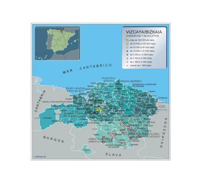 Biggest Municipalities Vizcaya map from Spain