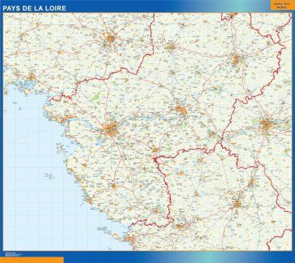 Biggest Pays De La Loire laminated map