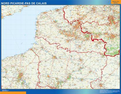 Biggest Picardie Pas Calais laminated map
