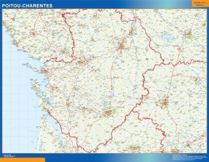 Biggest Poitou Charentes laminated map