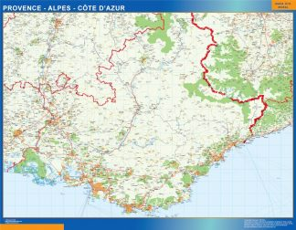 Biggest Provence Alpes Cote Azur laminated map
