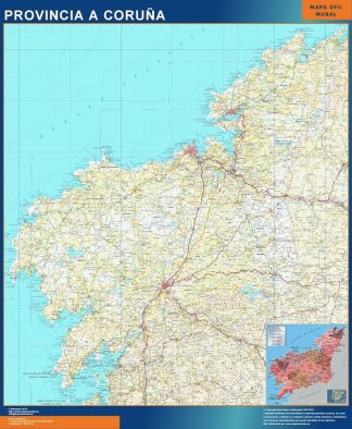 Biggest Province A Coruna map from Spain