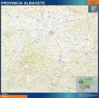 Biggest Province Albacete map from Spain