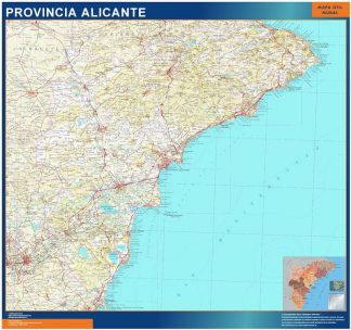Biggest Province Alicante map from Spain